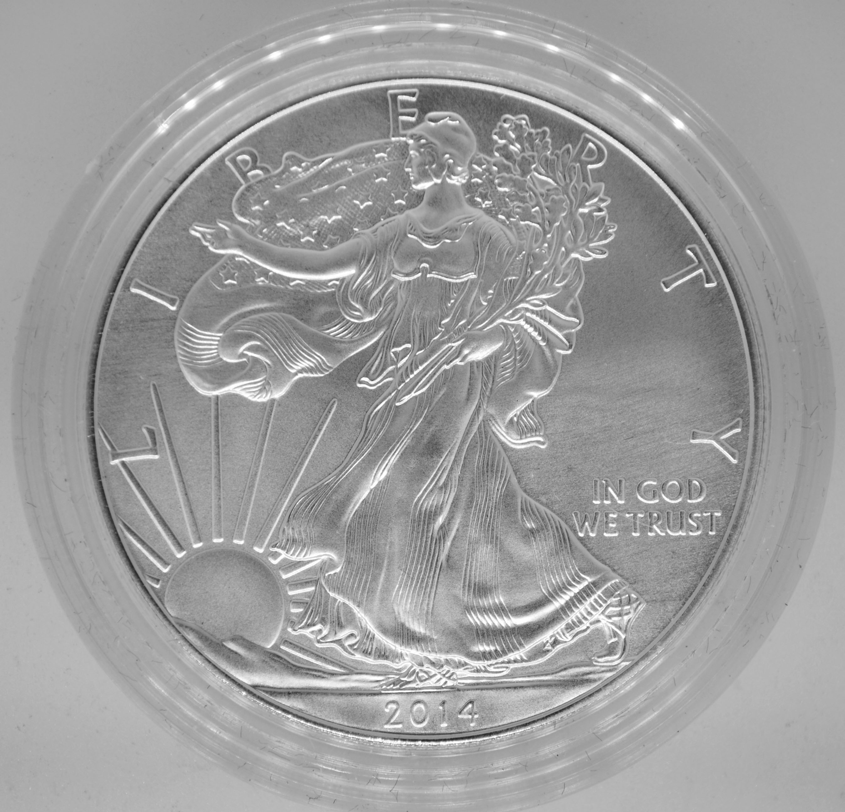 2014-W Burnished American Silver Eagle with Box /& COA