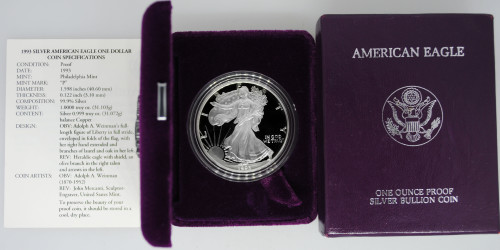 1993-P Proof Silver Eagle with Box & COA