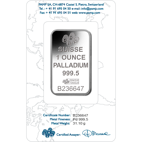 1 oz .9995 Pamp Fortuna Palladium Bar (Carded)
