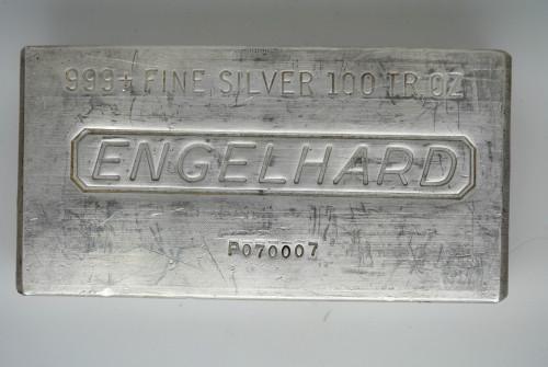 100 oz .999 Engelhard Silver Bar